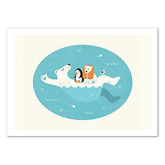 Art-Poster - Swimming lessons - Jazzberry Blue