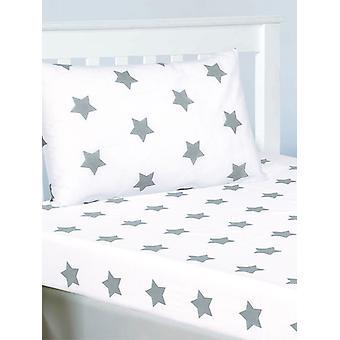 Graue und weiße Sterne ausgestattet Blatt und Kissenbezug Set