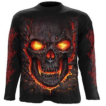 Spiral - skull lava - men's long sleeve t-shirt - black
