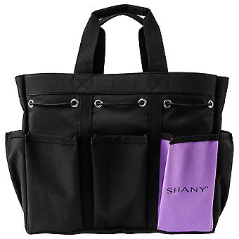 SHANY Beauty Handbag and Makeup Organizer Bag – Large Two-Tone Travel Tote with 2 Handles and 8 External Pockets – Black Canvas