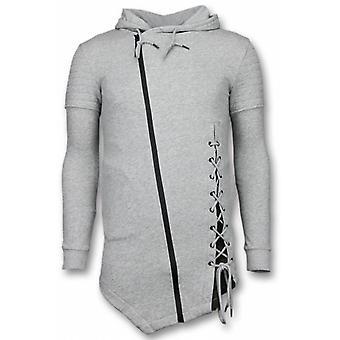 Casual Vest-Long Fit Braided Vest-Grey