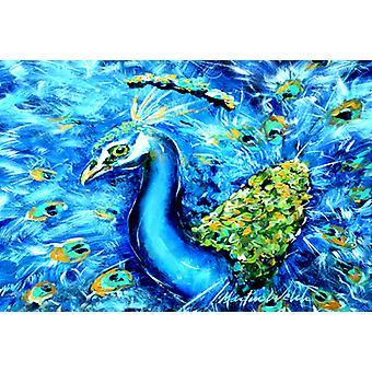 Carolines Treasures MW1166PLMT Peacock rett opp i blått stoff underlag