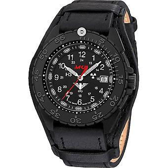KHS Wristwatch الرجال المنفذ الأسود الصلب CR مع حزام الجلد G-باد- KHS. ENFBSCR. R
