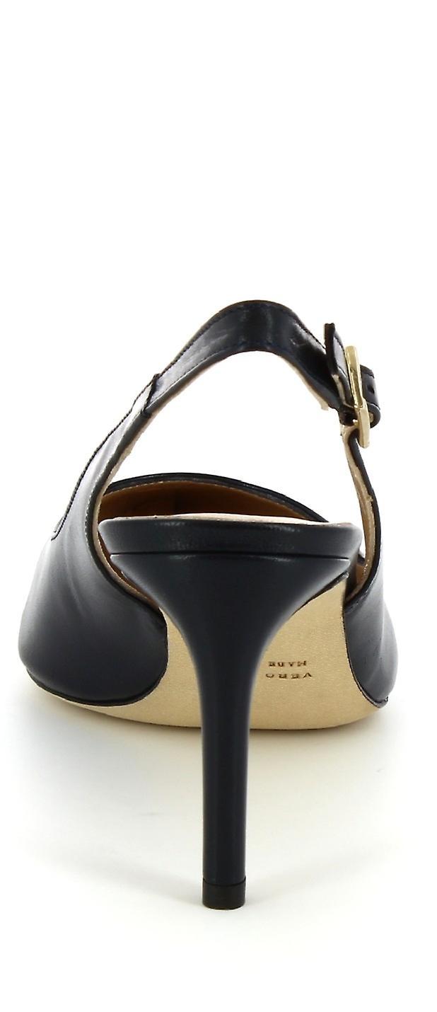 Leonardo Shoes Women's handmade heeled slingback sandals in blue calf leather
