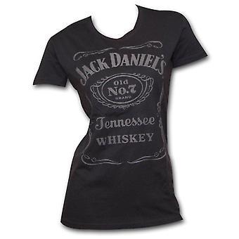 Jack Daniel's Raised Logo Juniors T Shirt - Black