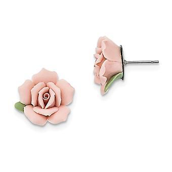 Silver ton Kirurgiskt stål post Rosa Porslin Rose Post Örhängen Smycken Gåvor för kvinnor