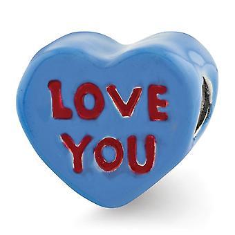925 Sterling Sølv Rød Emalje Blå Emalje Refleksioner Kids Love You Enameled Heart Bead Charm Pendant Halskæde smykker