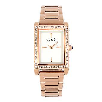 Sophie and Freda Wilmington Bracelet Watch w/Swarovski Crystals - Rose Gold