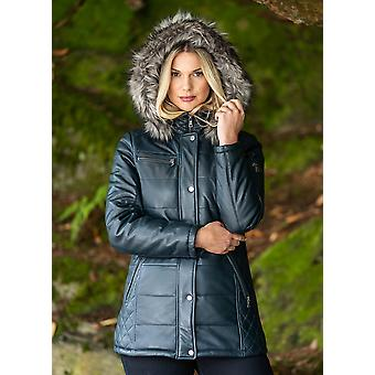 Fairfield Hooded Padded Leather Coat in Navy