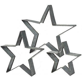 Metal Cut Out Stars (Set of 3)
