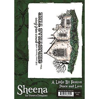 Sheena Douglass A Little Bit Festive A6 Rubber Stamp - Peace and Love