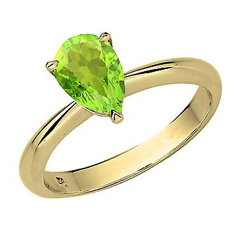 Colección Dazzlingrock 18K 8X6mm Pear Cut Peridot Solitaire Bridal Engagement Ring, Oro Amarillo