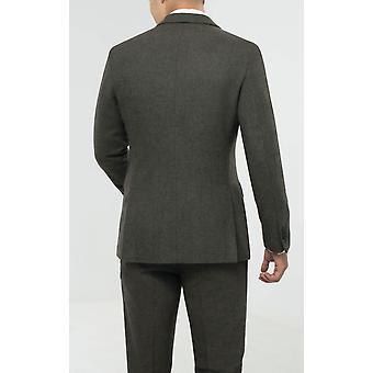 Dobell mens groene Flanel Suit jas regular fit