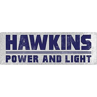 Grindstore Hawkins Power And Light Slim Tin Sign