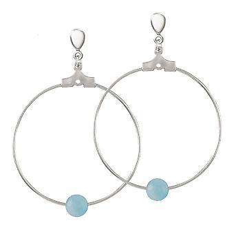 Eeuwige collectie stilistische blauwe agaat zilveren Toon hoepel schroef terug clip op oorbellen