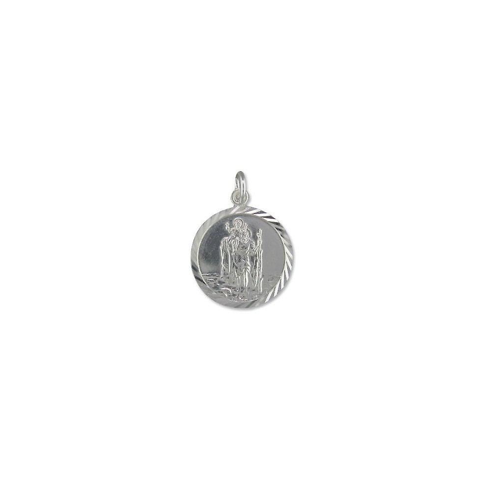 Eternity Sterling Silver Diamond Cut St.Christopher Pendant And 18'' Chain