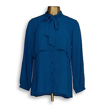 Joan Rivers Classics Collection Women's Top XXS Layered Blouse Blue A283720