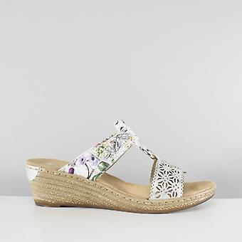 Rieker 62427-80 Damen Mule Slip auf Keil Ferse Sandalen weiß Floral