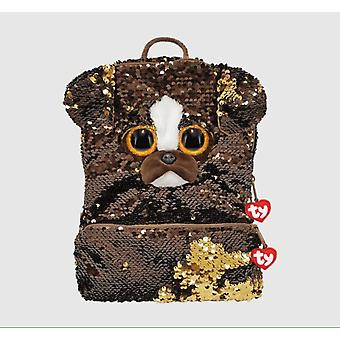 TY 95043 Brutus The Dog Plush Square Sequin Backpack - 35 cm