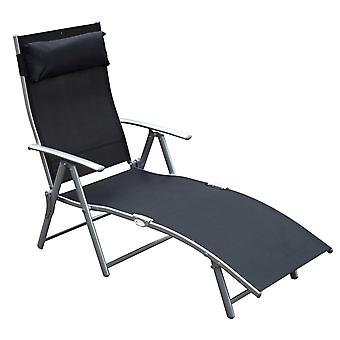Outsunny Patio Sun Lounger Garden Textilene Foldable Reclining Chair w/ Pillow Outdoor 7 Level Height Adjustable Recliner (Black)