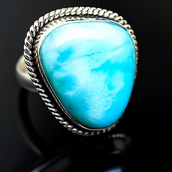 Large Larimar Ring Size 8.75 (925 Sterling Silver)  - Handmade Boho Vintage Jewelry RING985757