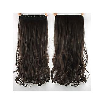 Hair Extensions-extensie clip-on set krullend/donker bruin #6