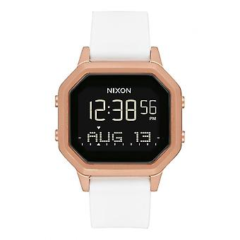Nixon horloge A1211-1045-00-sirene SS digitale silicone wit staal dor Rose vrouwen