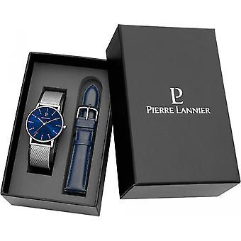 Visa Pierre Lannier 377C168 - titta på rutan läder och mesh Milanese mannen