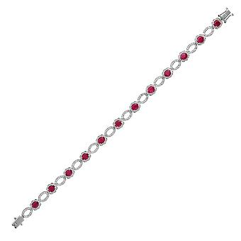 Jewelco London 18ct hvid guld 4 klo sæt G SI 0,3 CT diamant og oval rød 4.95 CT Ruby Cluster tennis armbånd 6,2 mm
