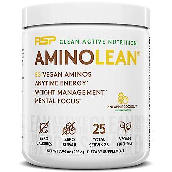 Rsp aminoácidomente vegano, pre-entrenamiento, energía, quemador de grasa, aminoácido en polvo (coco de piña, 25 porciones)