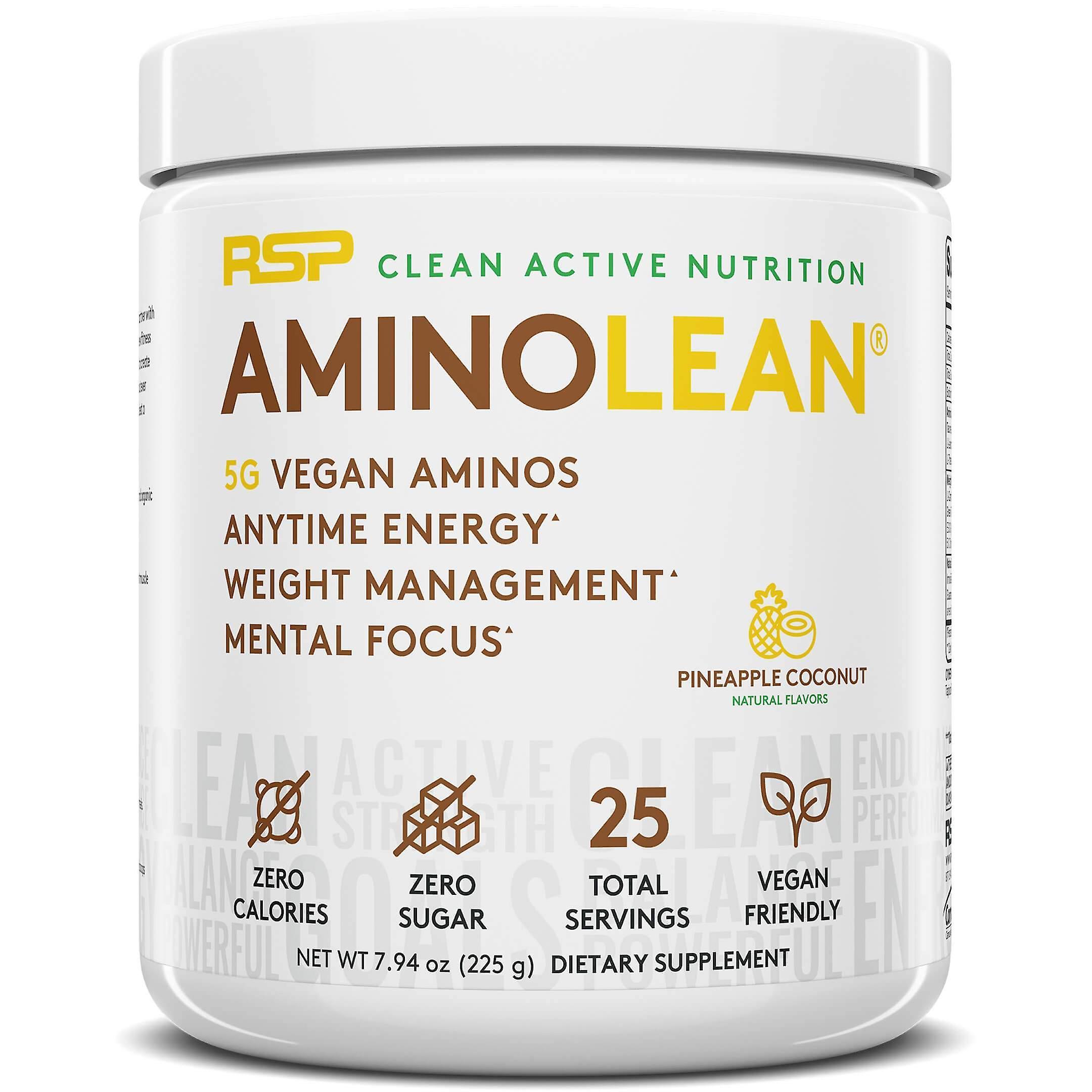 Rsp vegan aminolean, pre-workout, energy, fat burner, amino acid powder (pineapple coconut, 25 servings)