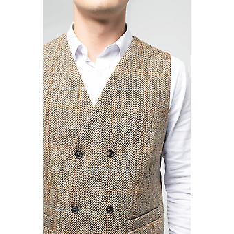 Scottish Harris Tweed miesten ruskea Tweed-liivit regular fit kaksinkertainen rinnakkaisryhmitelmällä Windowpane Tarkista