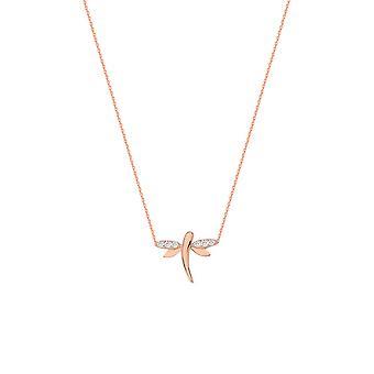 925 Sterling Silver Rose Plated Side sätt Justerbar Mini CZ Cubic Zirconia Simulerad Diamond Dragonfly Halsband 18 Tum