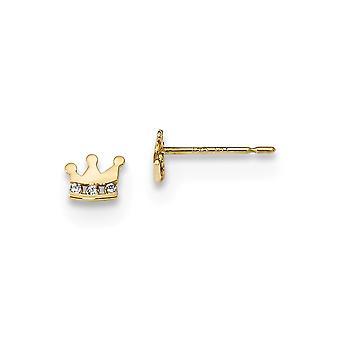 5.5mm 14k Madi K Kids CZ Cubic Zirconia simuleret Diamond Crown Post Øreringe smykker gaver til kvinder