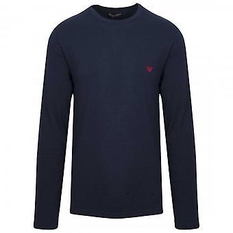 Emporio Armani Underwear Plain Long Sleeve Stretch T-Shirt Navy Blue 111653 9A512