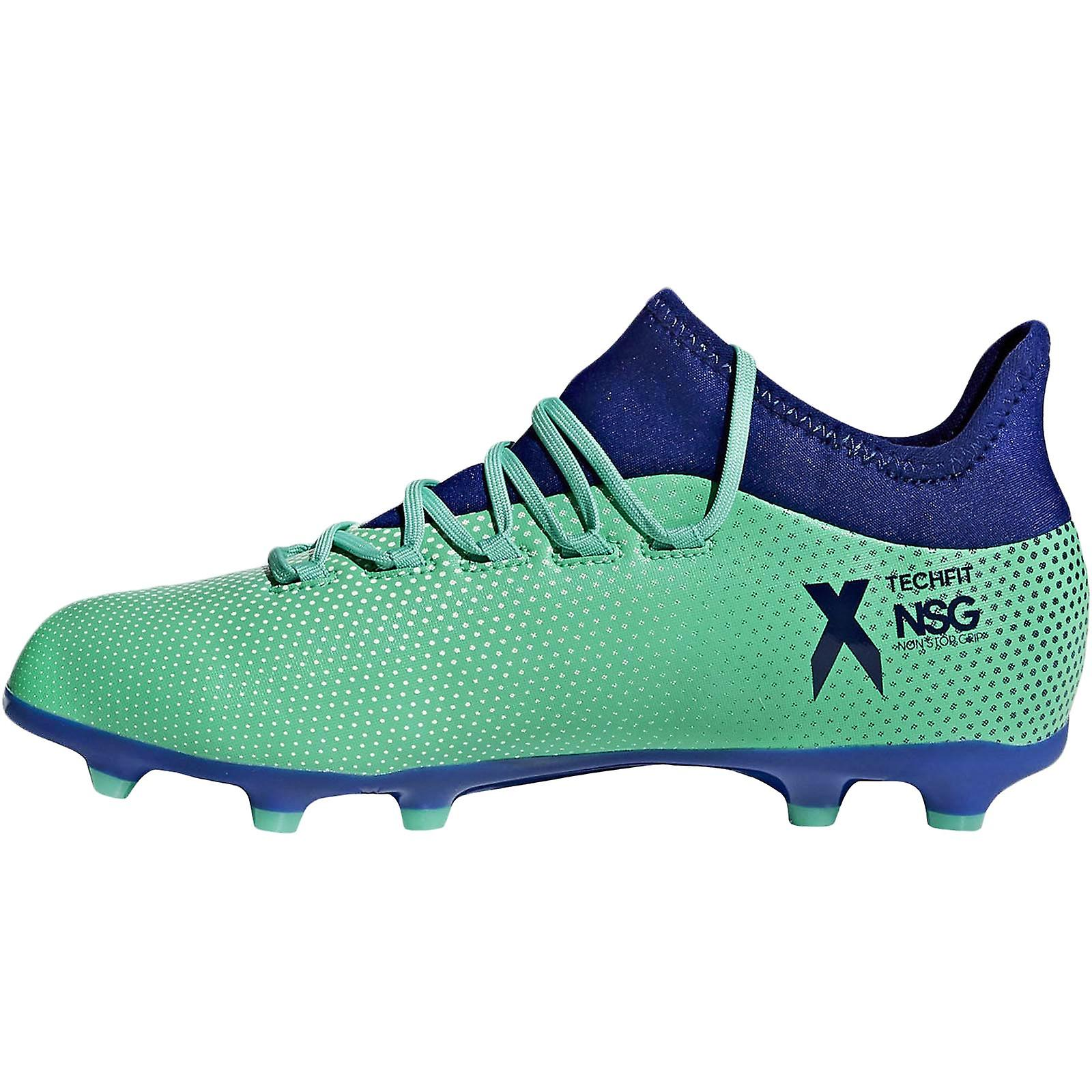 Adidas Performance Boys Juniors X 17.1 Fg Lace Up Football Boots - Aero Green