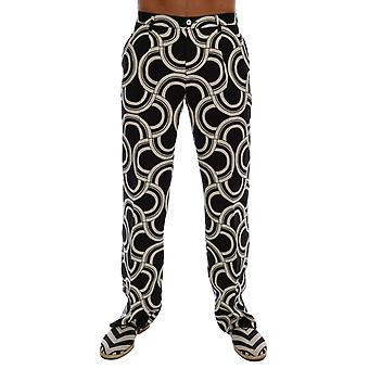 Dolce & Gabbana Black White Pattern 100% Linen Pants