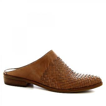 Leonardo Shoes Damskie'ręcznie robione muły buty z tkanej skóry cielęcej