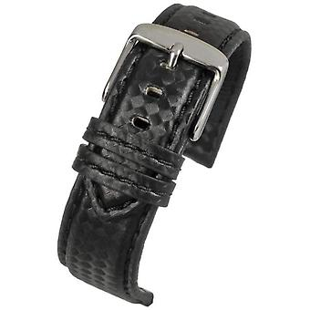 Carbon fibre watch strap with black stitching size 18mm to 24mm
