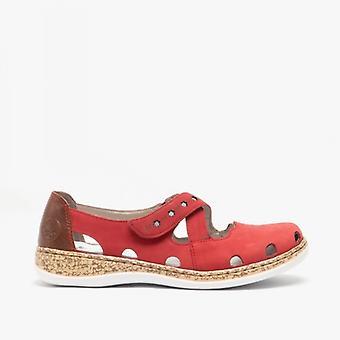 Rieker 46356-33 Ladies Leather Casual Shoes Fire/marron