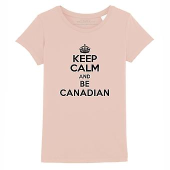 STUFF4 Girl's Round Neck T-Shirt/Keep Calm Be Canadian/Coral Pink