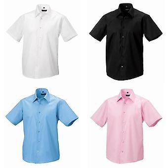 Russell coleção Mens Short Sleeve adaptados a camisa de não-ferro final