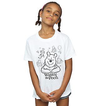 Disney Girls Winnie The Pooh Collage Sketch T-Shirt