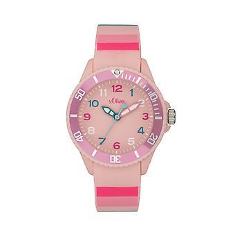 s.Oliver reloj de silicona cinta reloj niños niñas SO-4003-PQ