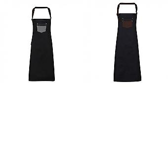 Premier Unisex Adults Division Waxed Look Faux Leather Denim Bib Apron