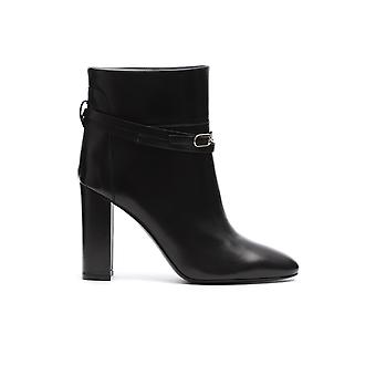 Twin-set 192tcp10400006 Women's Black Leather Ankle Boots