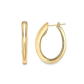 Jewelco London 18ct Gold Graduated Oval Drop Hoop Earrings 30x25mm