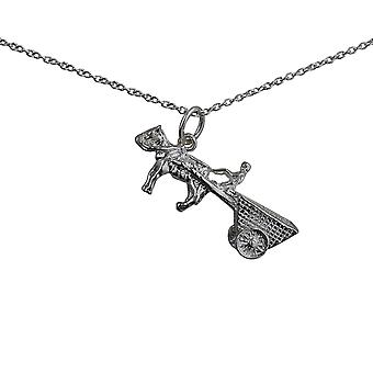 Silver 28x12mm moveable Horse and Cart Pendant with a rolo Chain 24 inches