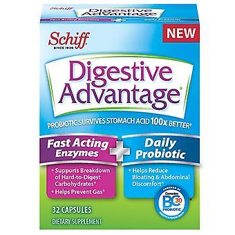 Spijsvertering voordeel snel handelend enzymen/dagelijkse probiotische, capsules, 32 ea