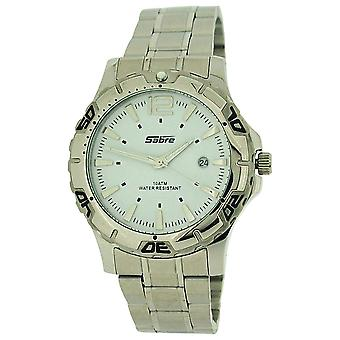 Sabre Gents White Dial, Date, Luminous Hands, Stainless Steel Strap Watch 7967NG